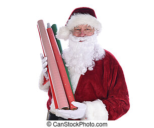 Santa Claus holding several rolls of Christmas gift wrapping paper, isolated on whtie.