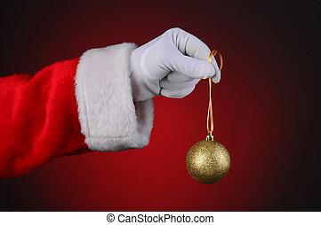 Santa Claus Holding Tree Ornament