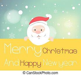 Santa claus holding yellow board.