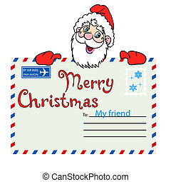 Santa Claus holds a mailing envelope with seal. Vector illustration.