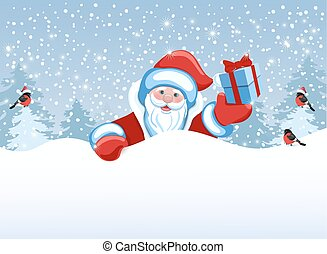 Santa Claus holds poster in the form of a snowdrift for advertise discounts, sales or an invitation to celebrate ?hristmas.