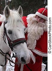 Santa Claus holds white horse