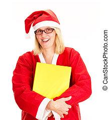 Santa claus hugging a gift