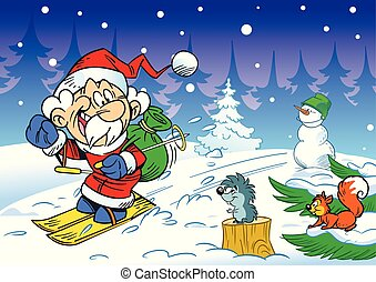 Santa Claus hurries on skis