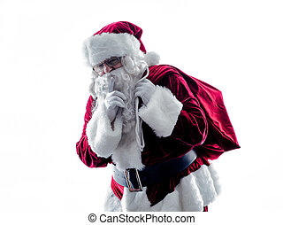 santa claus Hushing silhouette isolated