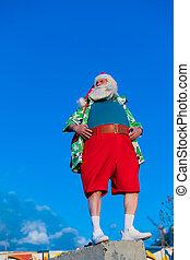 Santa claus in a hawaiian shirt on a blue sky background.
