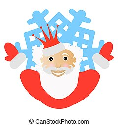 Santa Claus in a red crown in the form of snowflake an icon. to part hands in the parties. on white background. for the press, undershirts, t-shirts, fabric, cards, design. vector illustration