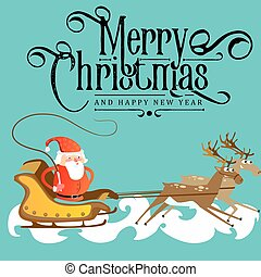 santa claus in a red hat and jacket, with a beard rushes in a sleigh chasing his reindeer, marry of christmas and happy new year vector illustration