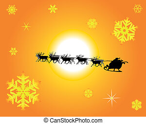 Santa Claus in a reindeer sled