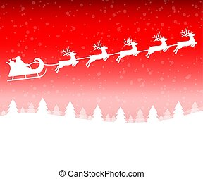 Santa Claus in a sleigh with a reindeer team flies in the Christmas forest on red