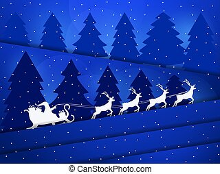 Santa Claus in a sleigh with reindeer. Night winter landscape with Christmas trees and snowfall. Paper cut style. Vector illustration