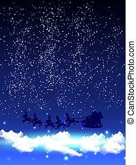Santa Claus in a starry night sky with clouds