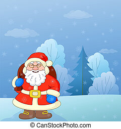 Santa Claus in a winter forest