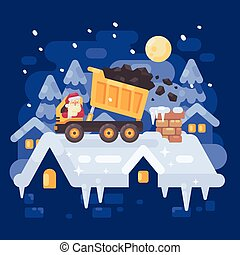 Santa Claus in a yellow tipper truck on a rooftop unloading coal into the chimney of a very naughty kid. Christmas character illustration