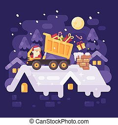 Santa Claus in a yellow tipper truck on a rooftop unloading presents into the chimney of a very nice kid. Christmas character illustration