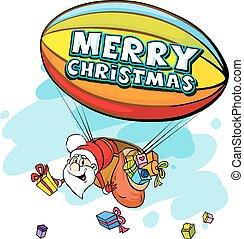 Santa Claus in airship full of gifts - funny vector...