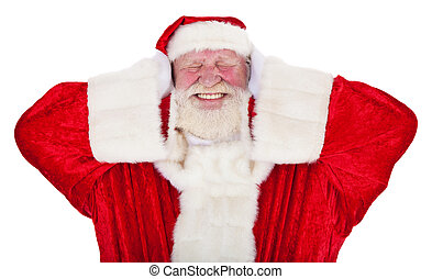 Santa Claus in authentic look keeps his ears shut. All on ...