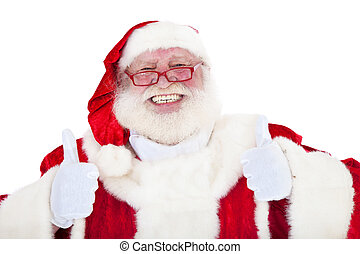 Santa Claus in authentic look showing thumbs up with both ...