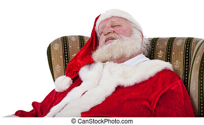 Santa Claus in authentic look sleeping in retro wing chair. ...