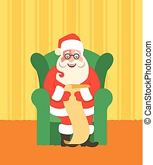 Santa Claus in chairreads Naughty or Nice List