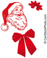Santa Claus in Christmas card - Santa Claus with bow and ...