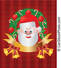 Santa Claus in Christmas Wreath Illustration