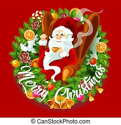 Santa Claus in Christmas wreath, spruce branches