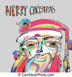 santa claus in contemporary art style with inscription merry chr