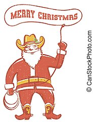 Santa Claus in coywboy boots twirling a lasso.Vector...