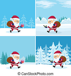 Santa Claus in forest, set