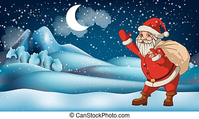 Santa Claus in front of winter landscape