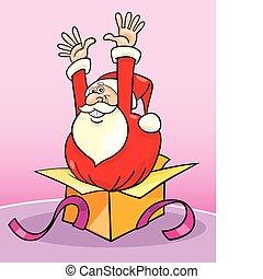Santa claus in gift box