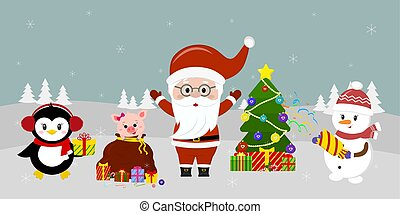 Santa Claus in glasses stands at the Christmas tree, a snowman with a clapperboard, a pig looks out of a bag, and a penguin with a gift against the background of winter. Winter holidays, vector