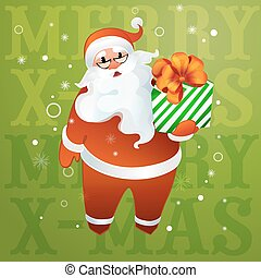 Santa Claus in glasses with a gift