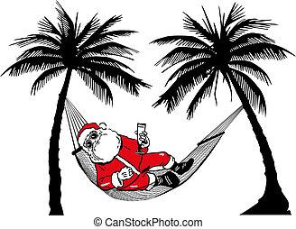 Santa Claus in hammock