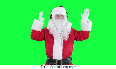 Santa Claus in headphones