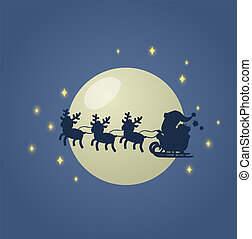 Santa Claus in his Christmas sled sleigh with his reindeers across the Moonlit night sky. Flat vector illustration. Isolated on white background.