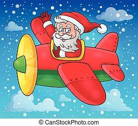 Santa Claus in plane theme image 3