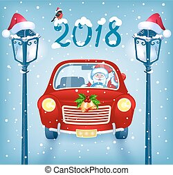 Santa Claus in red car with  inscription 2018 against snowfall background and lampposts
