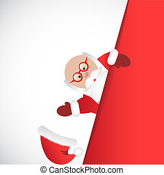 Santa Claus in red clothes with glasses lost cap