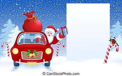 Santa Claus in retro car wit gift box anr big Christmas bag rides by billboard for layout congratulation or letter with list wish to Santa Claus or presentation