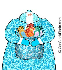 Santa Claus in Russia. Father Frost costume painting gzhel national pattern. Big bag with gifts. Full blue sack ornament folk texture. Christmas character. Illustration for new year