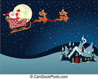 Cartoon illustration of Santa Claus in his sleigh