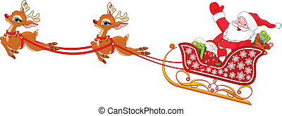 Santa Claus in Sled - Cartoon illustration of Santa Claus in...