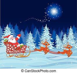 Santa Claus in Sled - Illustration of Santa Claus in his...