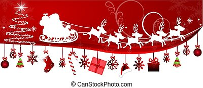 Santa Claus in sleigh and Christmas decorations