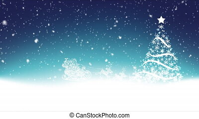 santa claus in sleigh and snow tree - Santa claus in sleigh ...