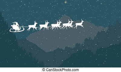 Santa Claus in sleigh being pulled by reindeers against landscape with mountains