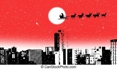 Santa Claus in sleigh pulled by reindeers - Animation of a ...