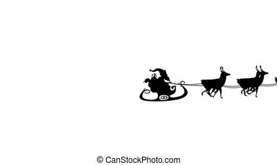 Santa Claus in sleigh pulled by reindeers